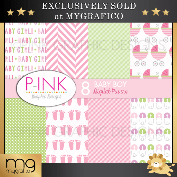Baby Girl Digital Papers Digital Papers & Backgrounds Pink Graphic Design    Mygrafico