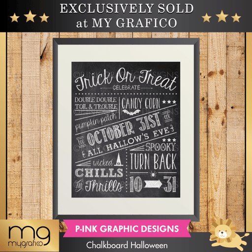 Chalkboard Halloween Wall Art Pink Graphic Design    Mygrafico