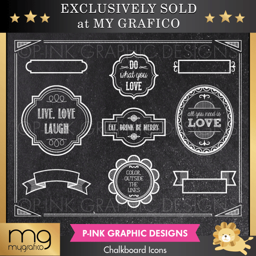 Chalkboard Icons Clipart Pink Graphic Design    Mygrafico
