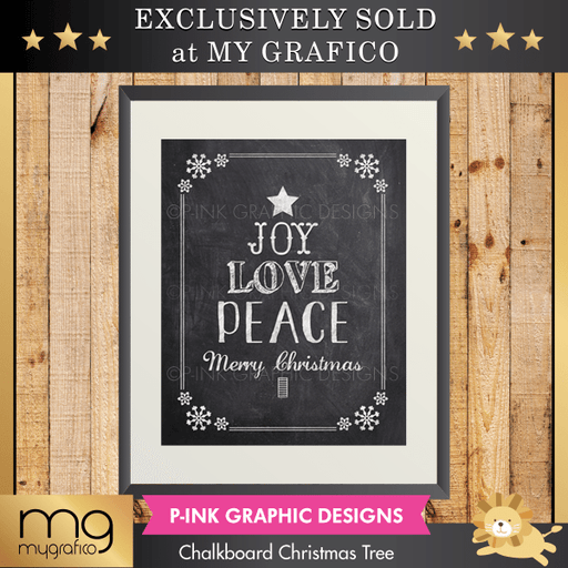 Chalkboard Christmas Tree Wall Art Pink Graphic Design    Mygrafico