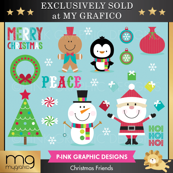 Christmas Friends Clipart Pink Graphic Design    Mygrafico