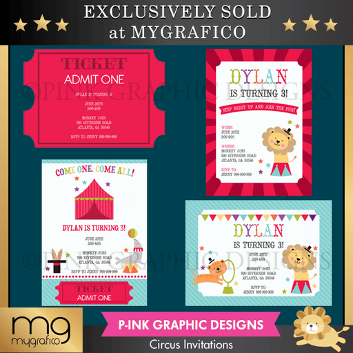 PGD Circus Invitations Printable Templates Pink Graphic Design    Mygrafico