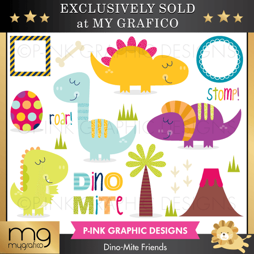 Dino-Mite Friends Dinasour Cliparts Clipart Pink Graphic Design    Mygrafico