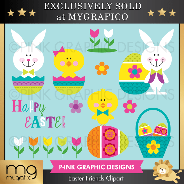 Easter Friends Clipart Clipart Pink Graphic Design    Mygrafico