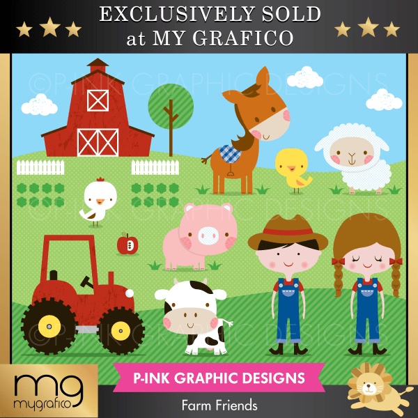 Farm Friends Cliparts Clipart Pink Graphic Design    Mygrafico