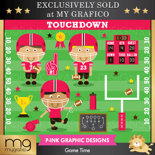 Game Time Clipart Pink Graphic Design    Mygrafico