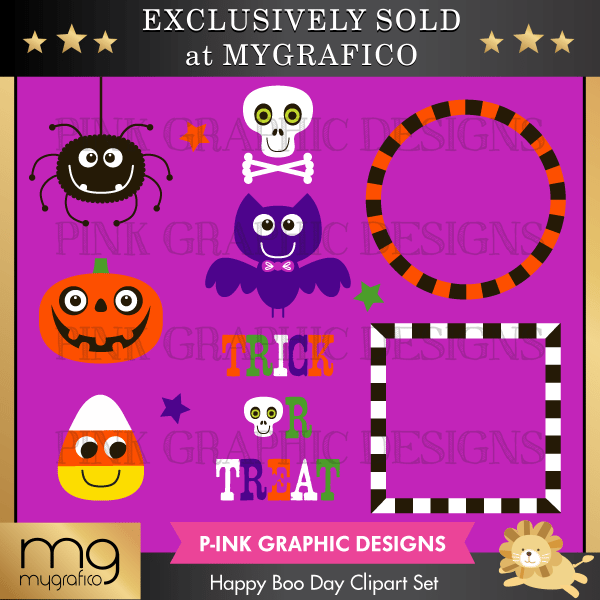 Happy Boo Day Clipart Set Clipart Pink Graphic Design    Mygrafico