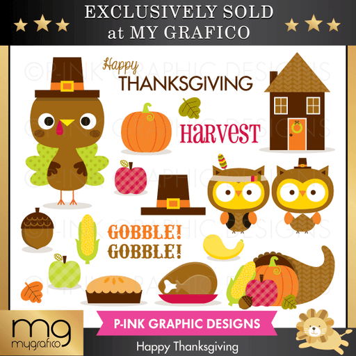 Happy Thanksgiving Cliparts Clipart Pink Graphic Design    Mygrafico