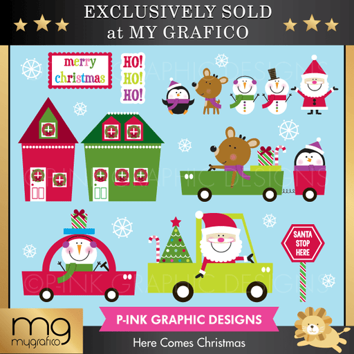 Here Comes Christmas Cliparts Clipart Pink Graphic Design    Mygrafico