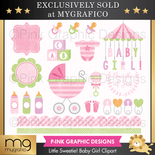 Little Sweetie! Baby Girl Clipart Set Clipart Pink Graphic Design    Mygrafico