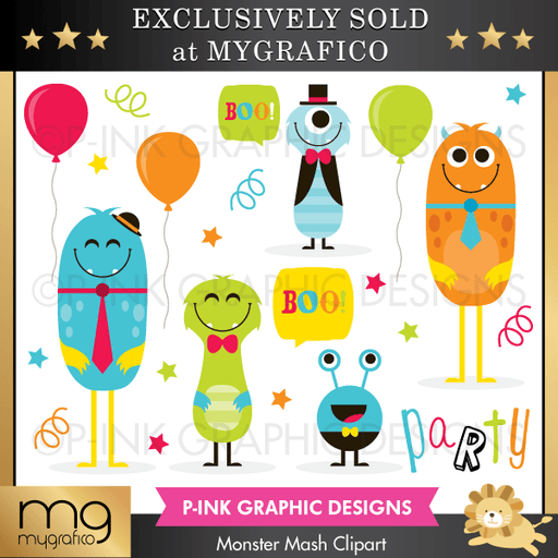 Monster Mash Clipart Set Clipart Pink Graphic Design    Mygrafico