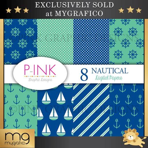 Nautical Digital Papers Digital Papers & Background Pink Graphic Design    Mygrafico