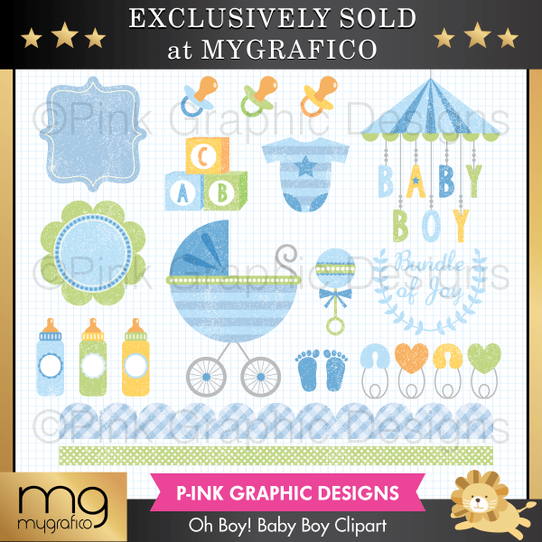 Oh Boy! Baby Boy Clipart Set Clipart Pink Graphic Design    Mygrafico