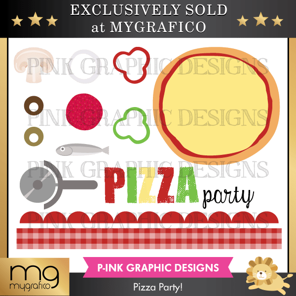Pizza Party Clipart Set Clipart Pink Graphic Design    Mygrafico