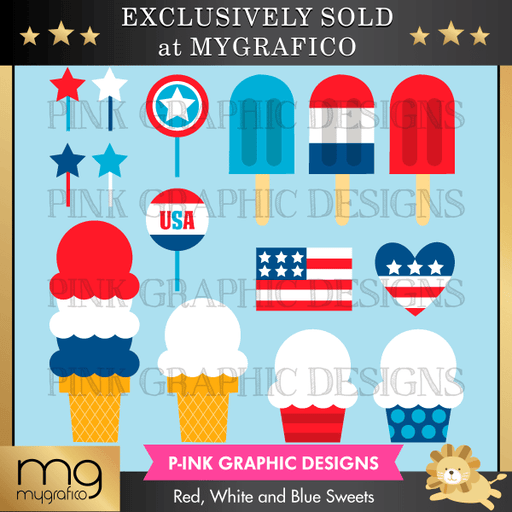 Red, White and Blue Sweets Clipart Pink Graphic Design    Mygrafico