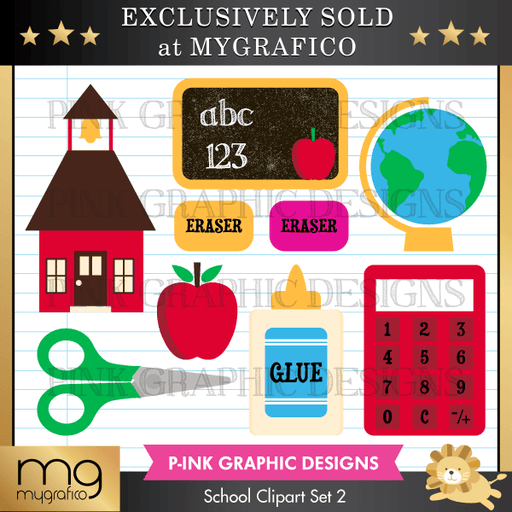 School Clipart Set 2 Clipart Pink Graphic Design    Mygrafico