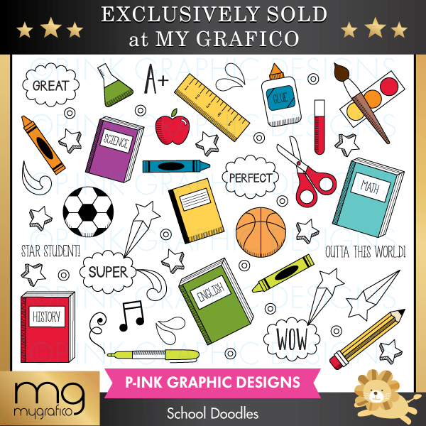School Doodles Clipart Pink Graphic Design    Mygrafico