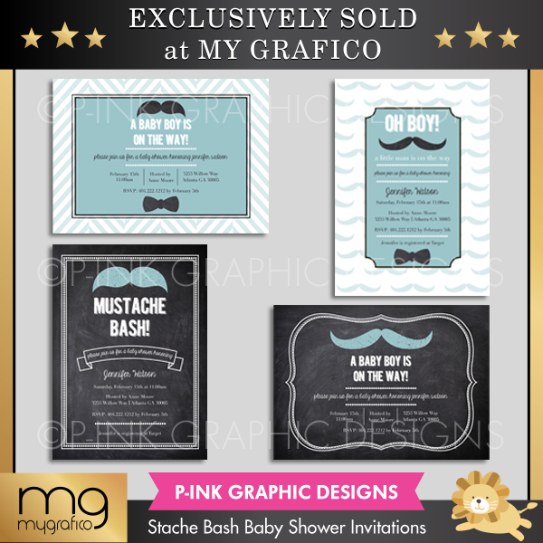 Stache Bash Baby Shower Invitations Printable Templates Pink Graphic Design    Mygrafico