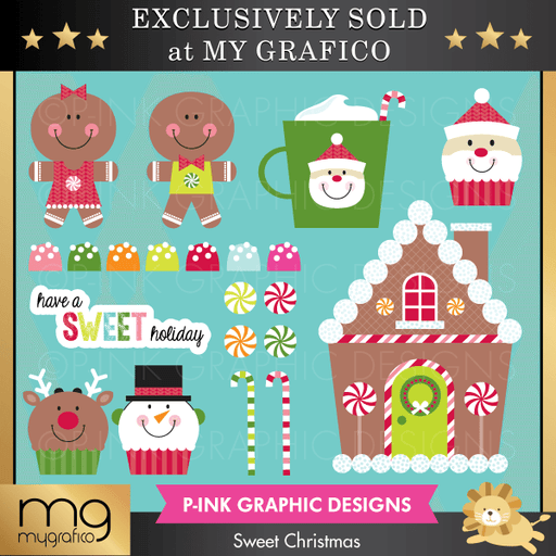 Sweet Christmas Clipart Clipart Pink Graphic Design    Mygrafico