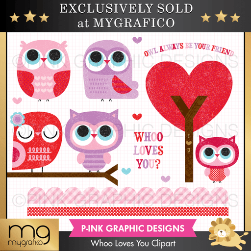 Whoo Loves You Valentine's Clipart Clipart Pink Graphic Design    Mygrafico