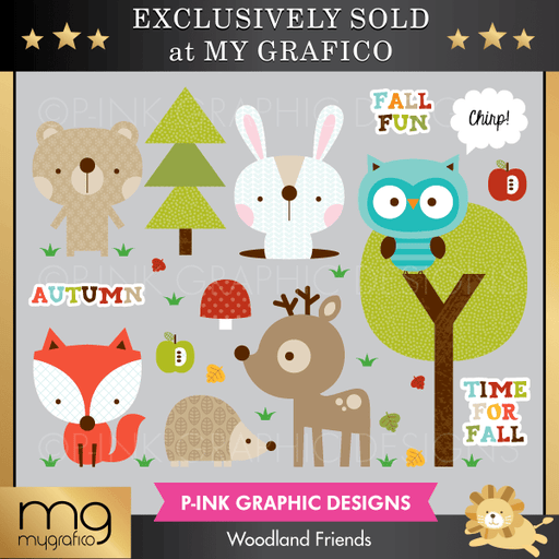 Woodland Friends Cliparts Clipart Pink Graphic Design    Mygrafico