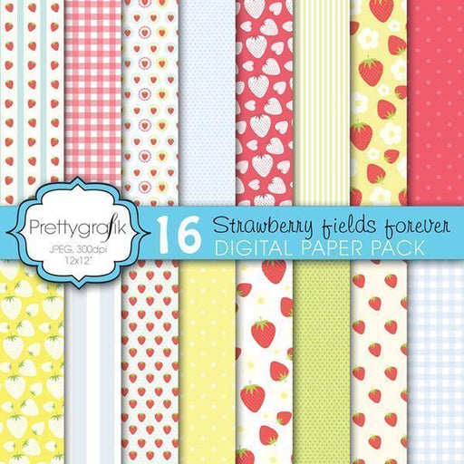 Strawberry fields forever Digital Papers & Backgrounds Prettygrafik    Mygrafico