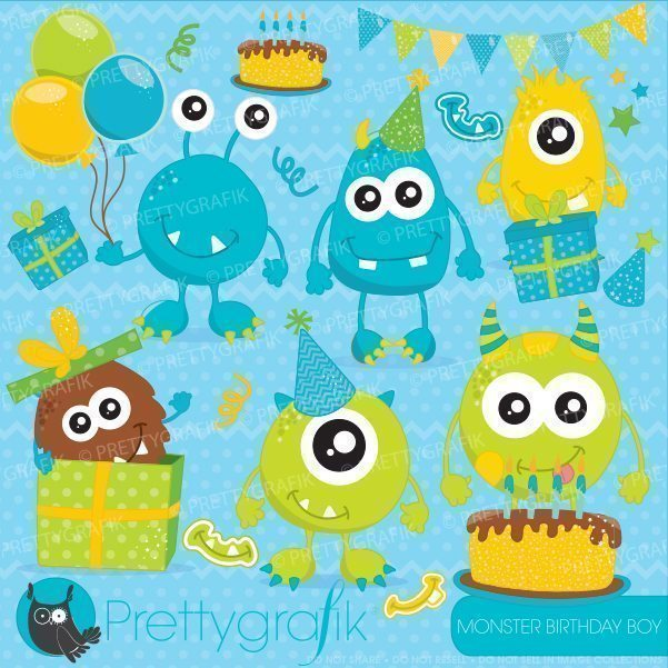 Monster birthday boy clipart  Prettygrafik    Mygrafico