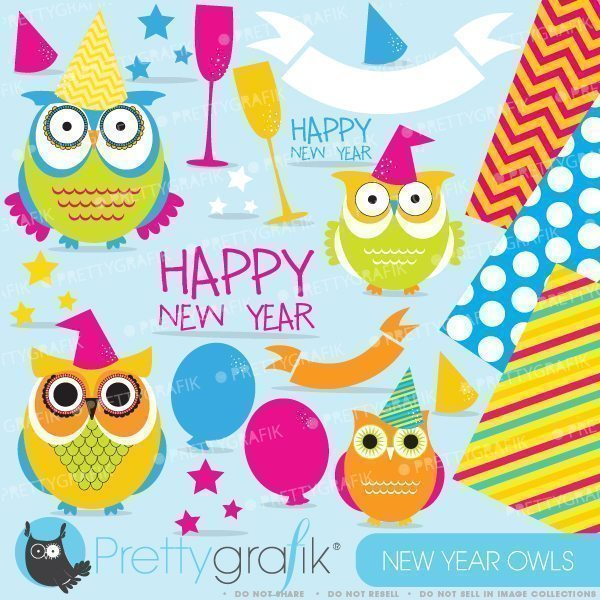 New Year Owls Clipart  Prettygrafik    Mygrafico