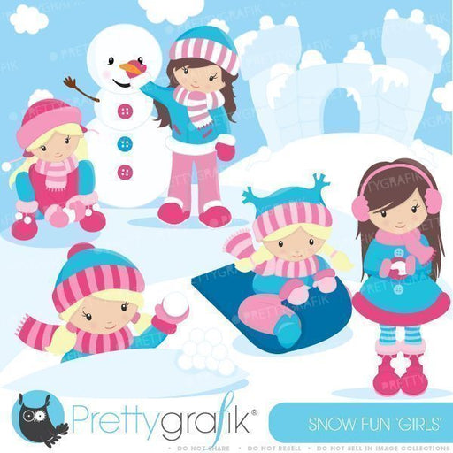 Snow Fun Girls Clipart  Prettygrafik    Mygrafico
