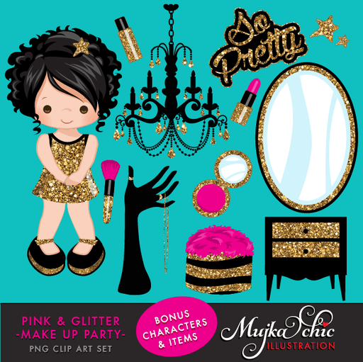 Pink & Glitter Make up Party Clipart  Mujka Chic    Mygrafico