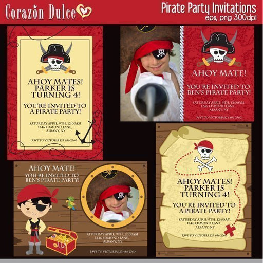 PIRATE PARTY Invitations  Corazón Dulce    Mygrafico