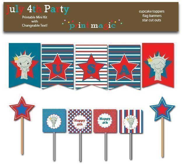 July 4th Printable Party Kit  Print Magic    Mygrafico
