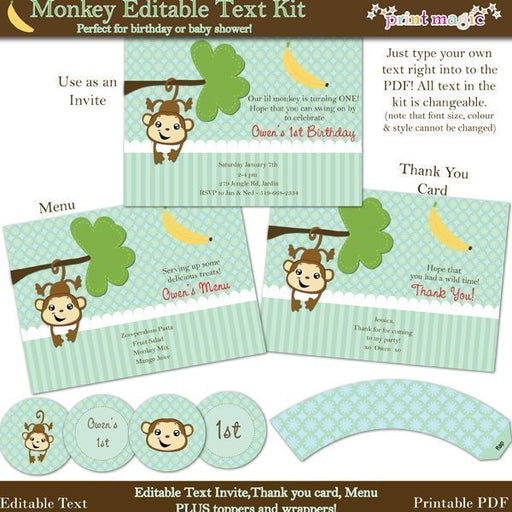 Lil Monkey Printable Party Kit  Print Magic    Mygrafico