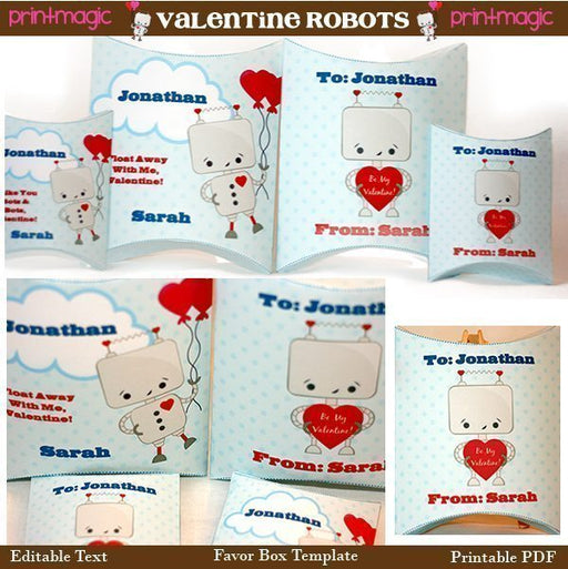 Robot Valentine Printable Pillowbox Gift Boxes  Print Magic    Mygrafico