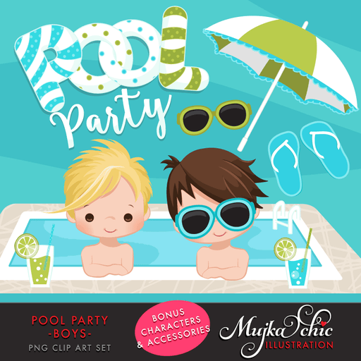 Pool Party Clipart for Boys