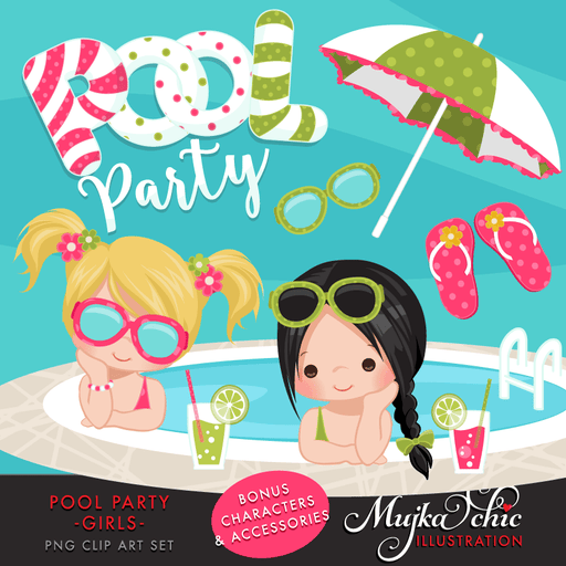 Pool Party Clipart for Girls
