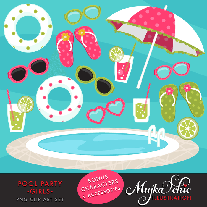 Pool Party Clipart for Girls  Mujka Chic    Mygrafico
