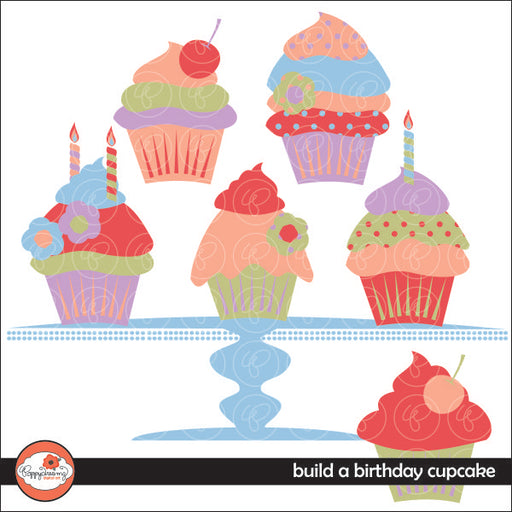 Build a Birthday Cupcake Clipart by Poppydreamz  Poppydreamz    Mygrafico