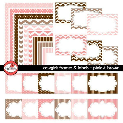 Cowgirls Brown & Pink Frames and Labels by Poppydreamz  Poppydreamz    Mygrafico