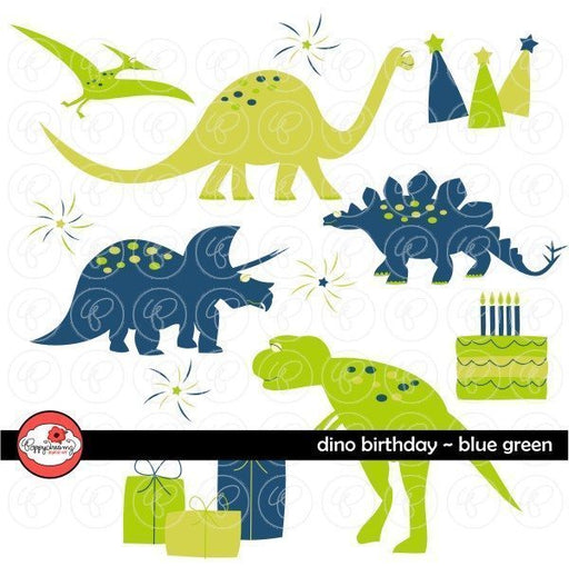Dino Birthday Blue Green by Poppydreamz  Poppydreamz    Mygrafico
