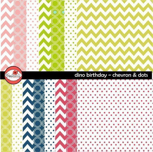 Dino Birthday Chevron & Dots Digital Papers by Poppydreamz  Poppydreamz    Mygrafico