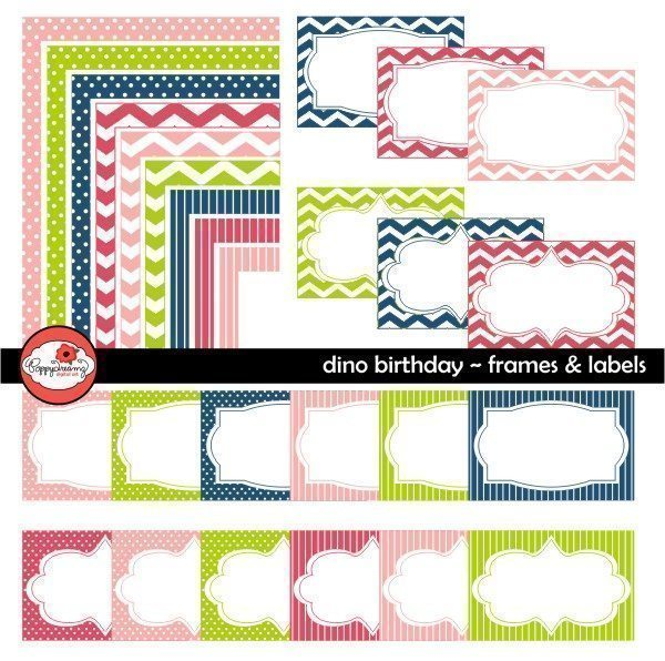 Dino Birthday Frames & Labels by Poppydreamz  Poppydreamz    Mygrafico