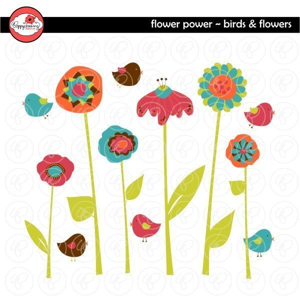 Flower Power Birds and Flowers by Poppydreamz  Poppydreamz    Mygrafico