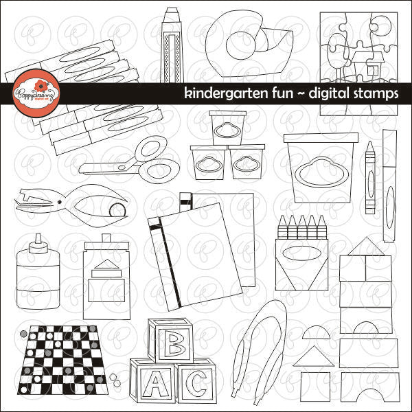 Kindergarten Fun Digital Stamps by Poppydreamz  Poppydreamz    Mygrafico