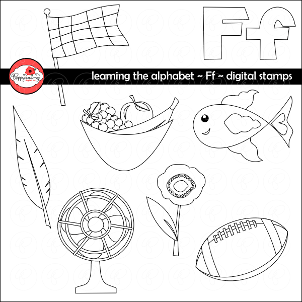 Learning the Alphabet - The Letter F Digital Stamps by Poppydreamz  Poppydreamz    Mygrafico