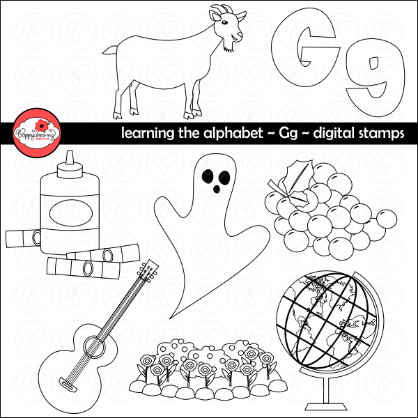 Learning the Alphabet - The Letter G Digital Stamps by Poppydreamz  Poppydreamz    Mygrafico