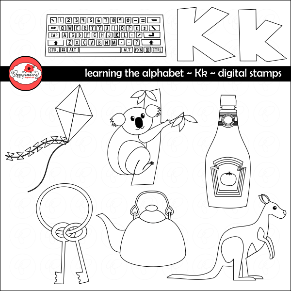 Learning the Alphabet - The Letter K Digital Stamps by Poppydreamz  Poppydreamz    Mygrafico