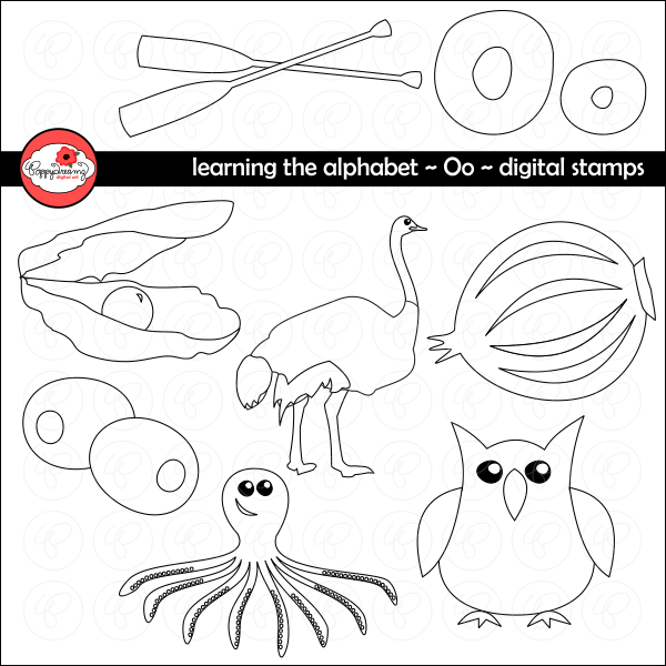 Learning the Alphabet - The Letter O Digital Stamps by Poppydreamz  Poppydreamz    Mygrafico