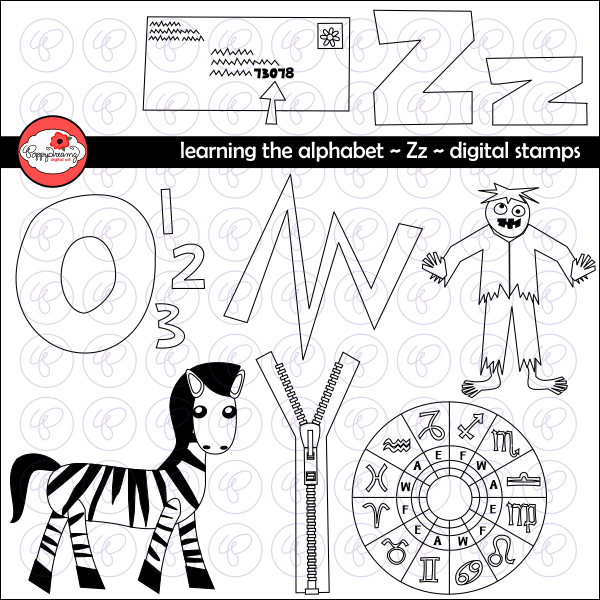 Learning the Alphabet - The Letter Z Digital Stamps by Poppydreamz  Poppydreamz    Mygrafico