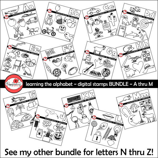 Learning the Alphabet - BUNDLE Digital Stamps A thru M by Poppydreamz Digital Stamps Poppydreamz    Mygrafico